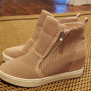 Ccocci pink perforated wedge sneakers sz 8